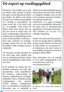 Artikel Femke van Liere Voedings- en Dieetadvies in Hart van Holland Zuidplas 11-7-2018 week 28 2018
